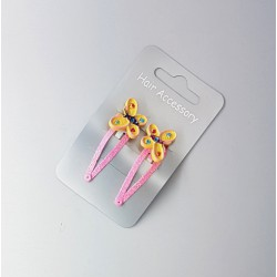 Haarspeld Vlinder Roze met Geel D-1